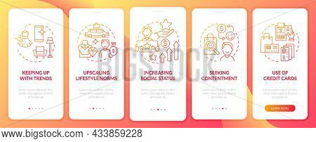Consumerism Motivation Red Gradient Onboarding Mobile App Page Screen. Purchasing Walkthrough 5 Step