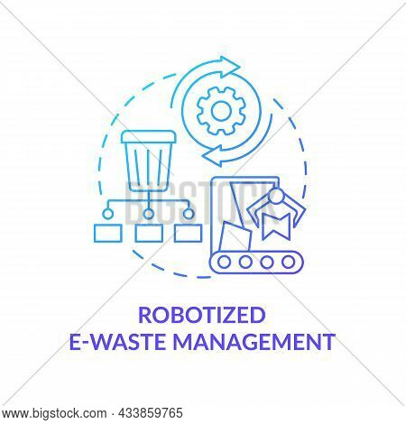 Robotized E-waste Management Solution Concept Icon. Nature Protection. Innovative Technologies To Re