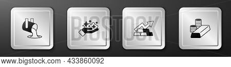 Set Molten Gold Being Poured, Gold Mine, Growth Arrow With Bars And Coin Icon. Silver Square Button.
