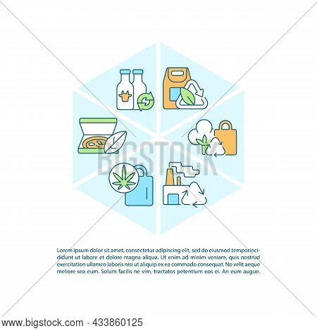 Waste Reusing Concept Line Icons With Text. Ppt Page Vector Template With Copy Space. Brochure, Maga