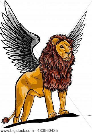 Illustration Of Winged Lion In Vector Design