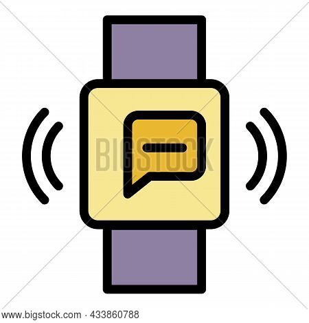 Smart Watch Message Icon. Outline Smart Watch Message Vector Icon Color Flat Isolated