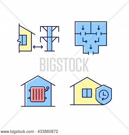Home Building Regulation Rgb Color Icons Set. Distance From Electric Lines. Fire Escape Route. Requi