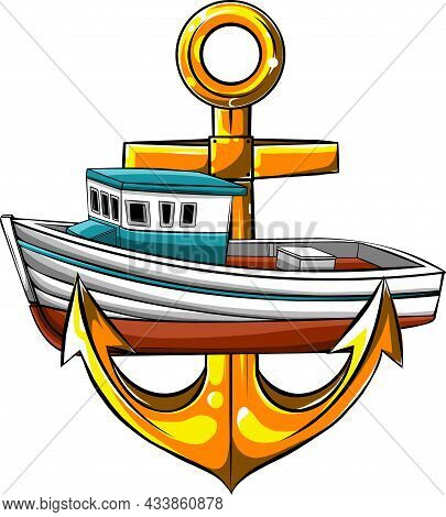 Vector Illustration Of Fish-boat With Anchor Cartoon Caricature
