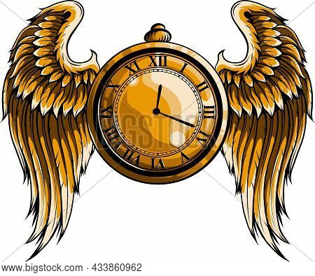 Vector Illustration Of Golden Clock With Wings.