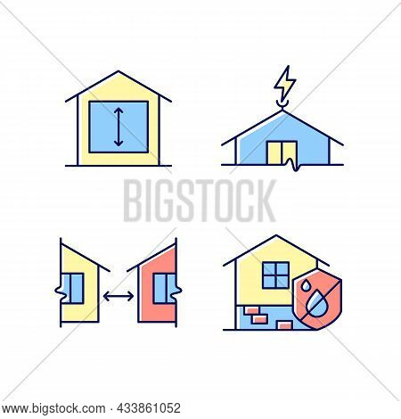 Building Safe House Rgb Color Icons Set. Minimum Ceiling Heights. Lightning Rod. Distance Between Bu