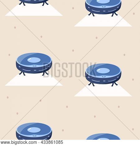 Robot Vacuum Cleaner Vector Illustration Of Modern Home Appliances. Seamless Pattern Of Vacuuming An