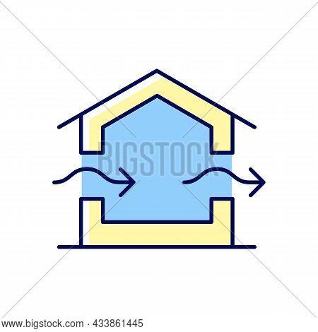 Ventilation System Rgb Color Icon. Providing Natural Ventilation In Building. Improving Indoor Air Q