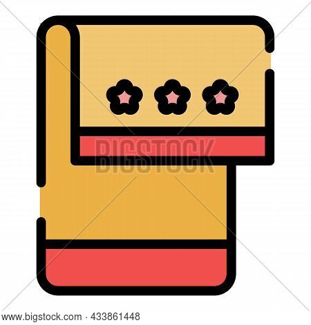 Kitchen Towel Icon. Outline Kitchen Towel Vector Icon Color Flat Isolated