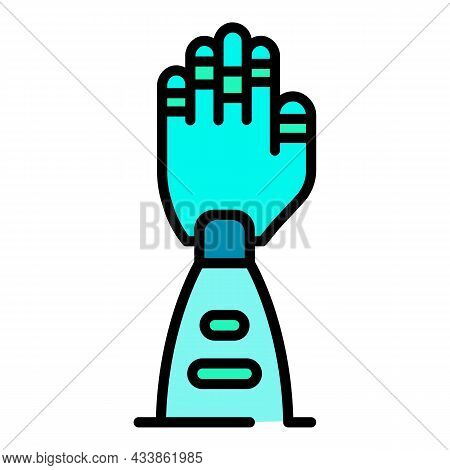 Prosthetic Arm Icon. Outline Prosthetic Arm Vector Icon Color Flat Isolated