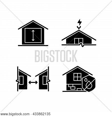 Building Safe House Black Glyph Icons Set On White Space. Minimum Ceiling Heights. Lightning Rod. Di