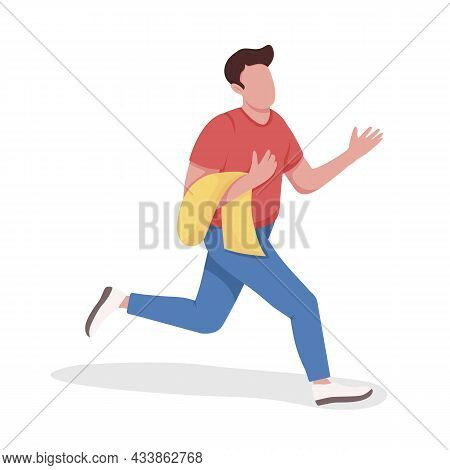 Male Shopaholic Semi Flat Color Vector Character. Running Figure. Full Body Person On White. Black F