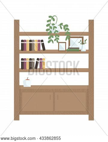 Bookshelf Semi Flat Color Vector Object. Bookcase For Apartment. Full Realistic Item On White. Home