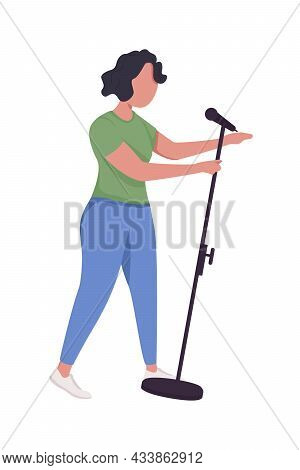Female Singer Semi Flat Color Vector Character. Posing Figure. Full Body Person On White. Live Perfo