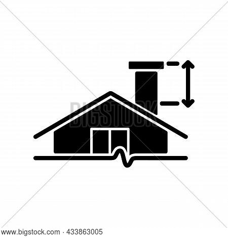 Minimum Chimney Height Black Glyph Icon. Building Requirements. Installing Flue In Residential Prope