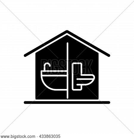Sanitation Facilities Black Glyph Icon. Hygienic Conditions Maintenance. Accessible Bathroom And Toi
