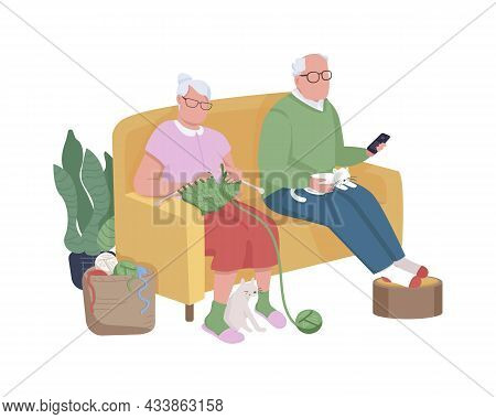Pensioners On Couch Semi Flat Color Vector Characters. Sitting Figures. Full Body People On White. R