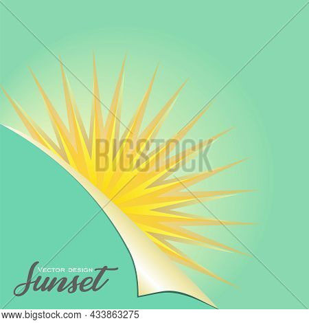 Sun Covering The Green Sheet With A Curved Corner Background. Vector Sunshine Poster. Sunburst Greet