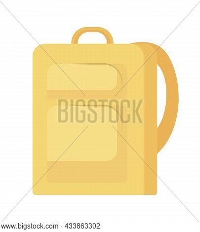 Yellow Backpack Semi Flat Color Vector Object. Full Realistic Item On White. Rucksack For Back To Sc