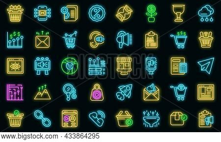 Marketing Filled Icon. Outline Marketing Filled Vector Icon Neon Color On Black
