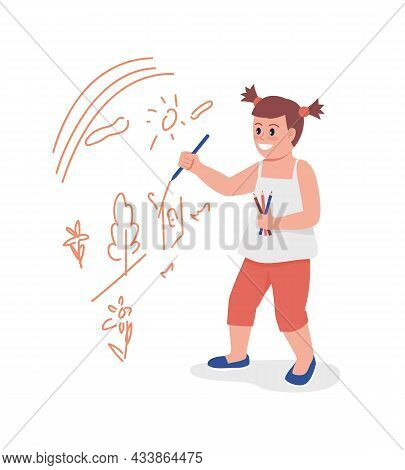 Toddler Girl Drawing On Wall Semi Flat Color Vector Character. Standing Figure. Full Body Person On