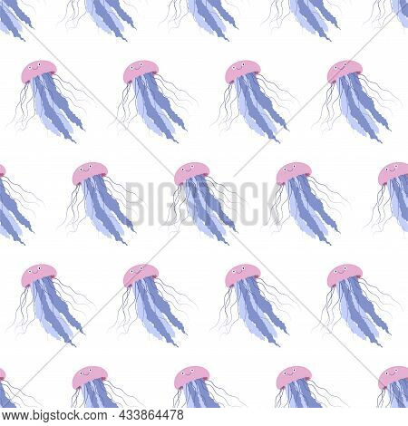 Sea Animal Seamless Pattern With Jellyfish. Undersea World Habitants Print. Hand Drawn Underwater Li