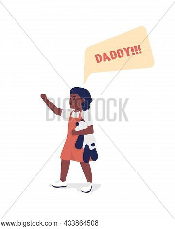 Toddler Shout Daddy Semi Flat Color Vector Character. Standing Figure. Full Body Person On White. Fa