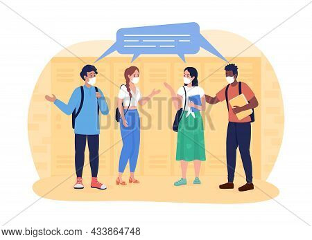 School During Quarantine 2d Vector Isolated Illustration. Teens Communicating. Talking Students In M