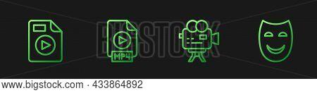 Set Line Retro Cinema Camera, Avi File Document, Mp4 And Comedy Theatrical Mask. Gradient Color Icon