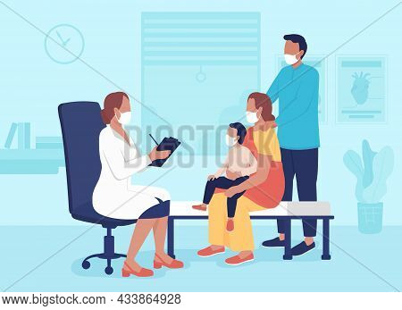 Doctor Office Visit Flat Color Vector Illustration. Hospital Appointment For Family. Clinical Visit