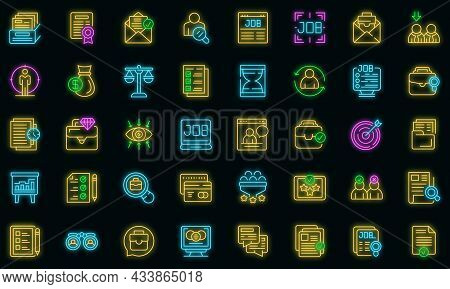 Seeking Job Icons Set Outline Vector. Covid Employment Job. Bad Business Lost