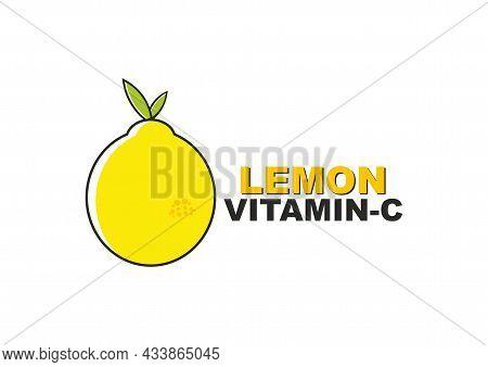 Vitamin C Natural Supplements. Vitamin C Lemon. Vector Image Of Lemon.