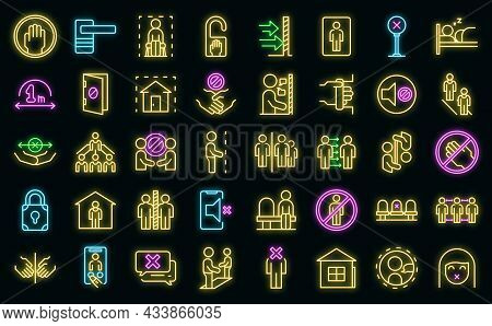Avoid Contact Icons Set Outline Vector. Handle Touch. Door Surface