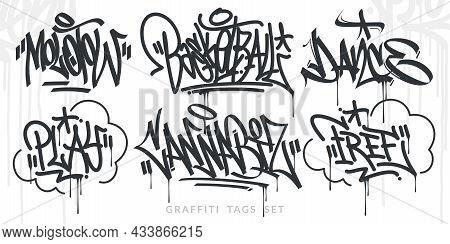 Abstract Handwritten Hip Hop Urban Street Art Graffiti Style Words
