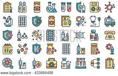 Antiviral Medicines Icons Set Outline Vector. Covid Syringe. Drug Injection
