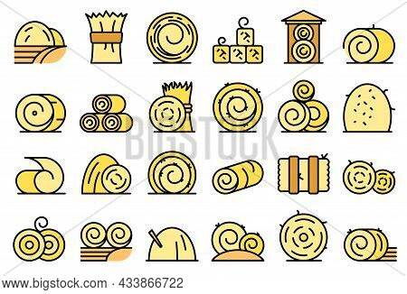 Bale Of Hay Icons Set Outline Vector. Agriculture Hay Bale. Dried Haystack