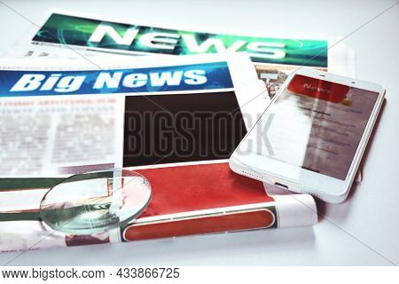 Newspaper With News Or Reports. News, A Place For A Picture Or Text. Soft Selective Selective Focus,
