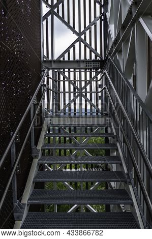 Modern Steel Construction With Stainless Steel Railing And Fall Protection