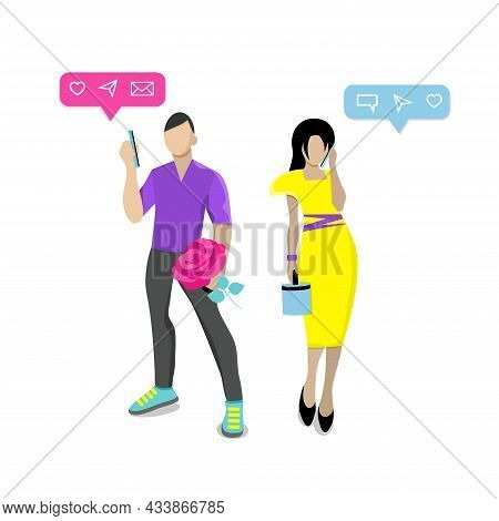 Сoncept Of Social Networks And Online Communication. Two Lovers, Girl And Boyfriend, Meeting, Commun