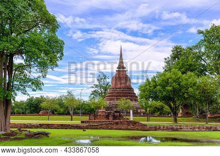 Ancient Pagoda At Sukhothai Historical Park, Unesco World Heritage Site In Thailand