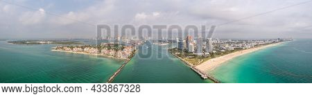 Beautiful Aerial Panorama Over The Government Cut Shipping Channel Looking Towards Miami With Fisher