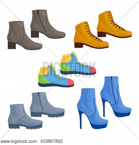 Footwear. A Large Set Consisting Of Various Shoes, Such As Shoes, Sneakers, Stiletto Shoes. Classic