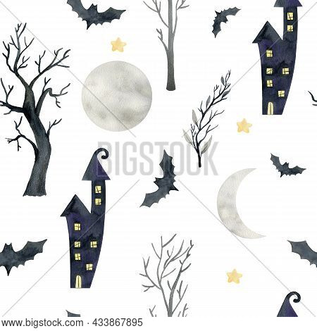 Watercolor Halloween. Seamless Pattern With Haunted House, Bat And Different Elements For The Holida