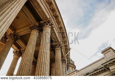 Old Columns Of The Kazan Cathedral In St. Petersburg. St Petersburg, Russia - September 17, 2021