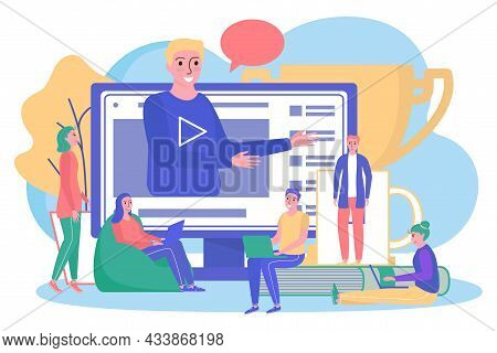 Education In Internet, Vector Illustration. People Character Study With Computer Online, Flat Person