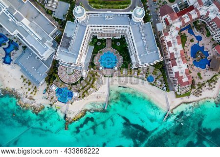 Aerial Top View Of Cancun Beach And City Hotel Zone In Mexico. Caribbean Coast Landscape Of Mexican