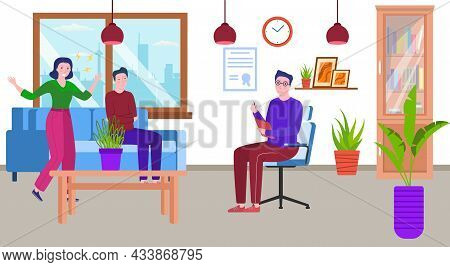 Therapy For Couple, Psychologist Office, Vector Illustration, Man Woman Character With Problem, Ther
