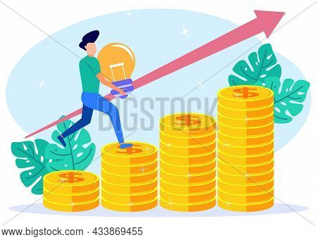 Vector Illustration. Male Character Climbing The Coin Ladder, Sales Growth, Investment, Company Futu