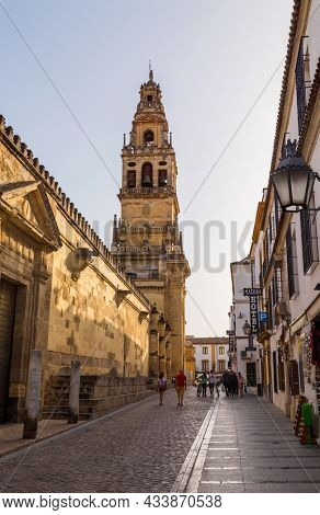 Cordoba, Spain - August 11, 2021: View of Mosque Cathedral of Cordoba, Mezquita Catedral de Cordoba, also known as the Great Mosque or Mezquita, monuments of Moorish architecture.