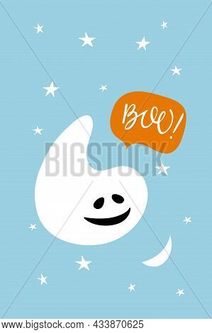 Halloween Card. White Smiling Ghost Says To Moon Boo. Cute Little Ghos.blue Background With Moon And